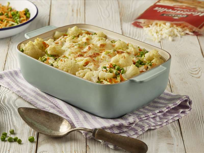 Cauliflower Gratin with Mixed Mozzarella Cheese